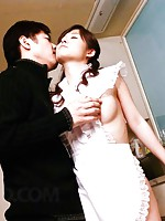 Moe Yoshikawa Asian in fishnet stockings is screwed from behind