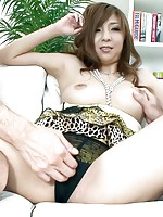 Hinano Asain cupcake sucks two boners she has tits rubbed with