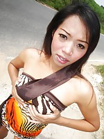 Slim Thai girlfriend flashing outdoors by the side of the road