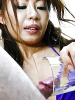 Mio Hiragi Asian drinks sperm from glass after sucking phallus