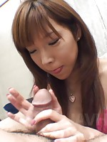 Serina Hayakawa Asian in pink bath suit rubs and licks hard dick