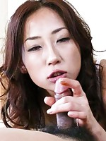 Yuu Uehara Asian in fishnet stockings has cum in mouth from penis