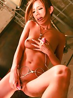 Sweet Yui Hatano with a glass dildo fucking herself