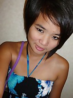 Hot Asian teen named Meow shows her goods in public
