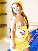 Beautiful Asian girl Beer strips to reveal her amazing perky tits