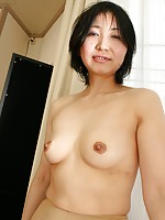 Japanese cougar Junko Konno is getting her pussy wet while teasing a hard cock.