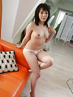 Teen Japanese babe Satsuki Ejiri teasing her pussy with vibrator before she rides a hard cock.