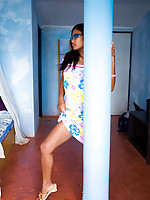 Delicious Indian babe lifts skirt and shows tasty thong
