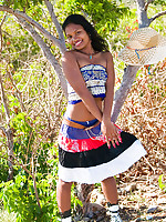 Teen Asha lifts her India skirt and exposes brown nipples
