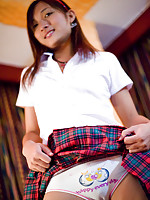 Small tit Asian Pancake dancing on pole in school uniform