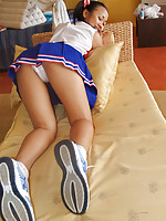 Petite Joon Mali dressed in her adorable cheerleader outfit