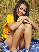 Shy Asian Joon Mali wets white cotton panties at sunset