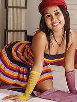 Asian birthday girl Joon Mali in fun colourful party dress