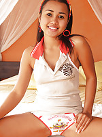 Adorable Thai teen shows off her cute white cotton panties