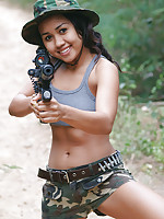 Teen Asian commando Joon shows lovely cameltoe in jungle