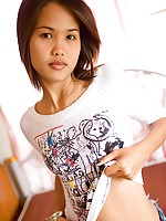 Sassy Asian teen Lily dressed in t shirt and red panties