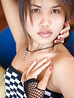 Lily Koh blows sweet kiss and covers tits with small hands