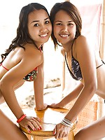 Lily Koh and Joon Mali in tiny bikinis undress each other