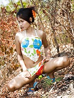 Perky teen tits and slim Asian figure exploited outdoors