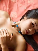 Teen Lily Koh fondles her slim delicate Asian body in bed