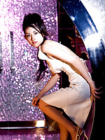Maju Ozawa Asian shows sexy legs in elegant different dresses