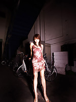 Yumiko Shaku Asian in cute dress learns to ride the new bike