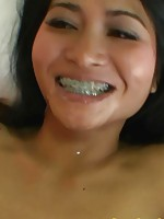 Super hot Thai teen Pan and her cute face with braces blows a dick