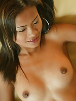 Perky tits skinny Thai beauty Blie poses to show of her pussy