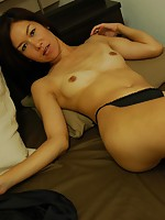 Horny Japanese babe Rinko Yoshitake suckes a dick before her pussy gets a taste of it.