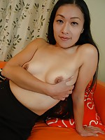 Japanese granny Akiko Tasaka gets her pussy penetrated with toys and a hard cock.