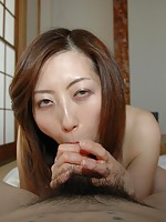 Mature babe Shiho Tanimura slides a dick in her pussy to satisfy her hairy pussy.