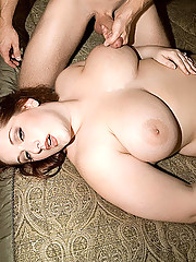 Plumper babe bends over for cock