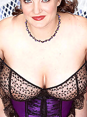 Redhead BBW busts out of her lingerie