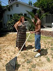 BBW sees her gardener's hard body, sweaty and muscular, working in the hot sun she knew she wanted him inside of her