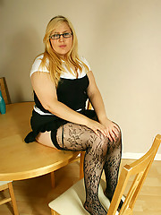 Chubby secretary in stockings teasing