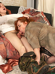 Full redhead yummies down on young dude's cock