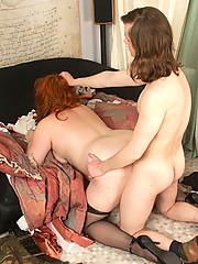 Nasty plump gingerhead gets a hard A-style fuck