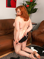 Fat babe gets rid of her sexy black underwear