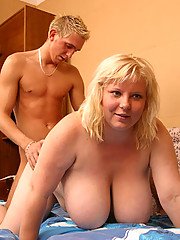 Plump oldie takes cock and gets her jugs creamed