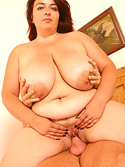 Younger stud cums onto plump mama's enormous jugs