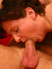 Lucky youngster gets a blowjob from a hot fat mom