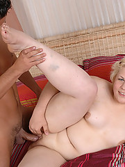 Young blonde fatty spreads hips for a hung stud