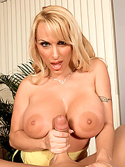 Gorgeous co-worker gives lucky stud a tugjob