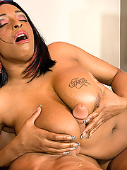 Black babe gives one hell of a titjob
