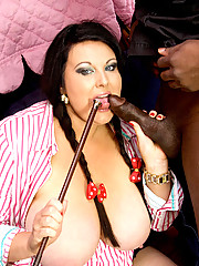 Sexy Ms. Halborg rides his black stallion up and down until he cums all over her tits
