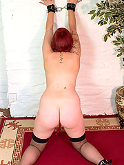 Young plump redhead jills off in front of camera
