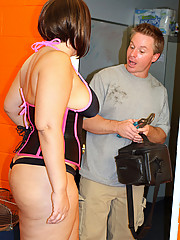 Getting a maintenance guy over to fix her stuff was the easy part for Meadow. However, when she found out that her hired hand had a leak himself coming from his cock, she was obliged to fix it.