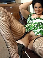 Cock-hungry suburban wife Daniella in sexy green dress and fishnet stockings
