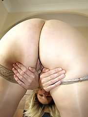 Dirty voluptuous housewife in tan nylons shows off her juicy cunt for you