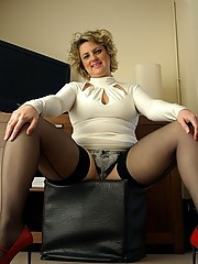 Sexy English wife in tight ivory dress and seamed back stockings